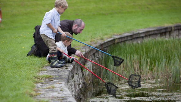 Pond dipping with the rangers at Hopetoun House round pond